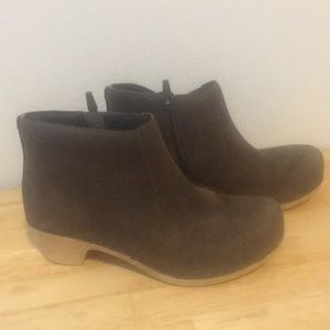 Dansko brown leather Maria clog-style booties